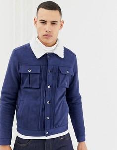 Куртка из искусственной замши с воротником из искусственного меха Another Influence - Темно-синий