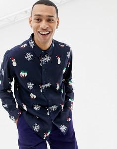 Новогодняя рубашка с длинными рукавами Another Influence - Темно-синий