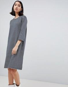 Трикотажное платье в полоску Selected Ava - Темно-синий