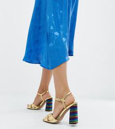 Разнцветные босоножки на блочном каблуке для широкой стопы ASOS DESIGN - Золотой