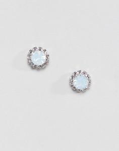 Синие серьги-гвоздики с кристаллами swarovski Krystal - Синий
