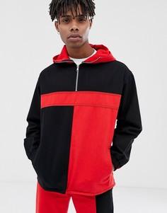 Черно-красная джинсовая куртка в стиле колор блок COLLUSION - Красный