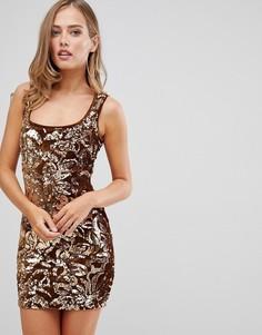 Золотистое платье мини с пайетками Flounce London - Золотой