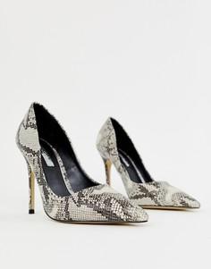 Серые туфли-лодочки с принтом под змеиную кожу Miss Selfridge - Серый