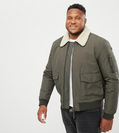 Куртка цвета хаки с меховым воротником New Look Plus - Зеленый