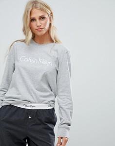 Хлопковый пижамный топ с длинными рукавами Calvin Klein - Серый