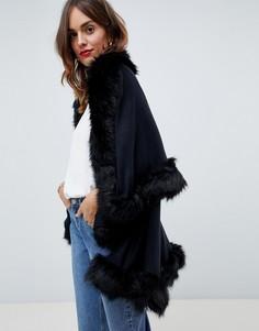 Пончо с добавлением шерсти и отделкой искусственным мехом Jayley Luxurious - Черный