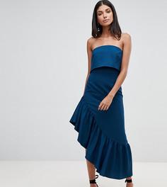 Платье-бандо миди с баской ASOS DESIGN Tall - Синий