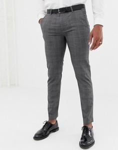 Полушерстяные брюки с отделкой лентой по бокам Ted Baker - Темно-синий