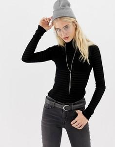Топ с длинными рукавами и отворачивающимся воротником AllSaints Esme - Черный