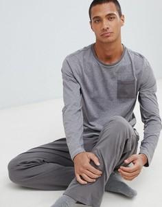 Хлопковый пижамный комплект серого цвета с длинными рукавами Tokyo Laundry - Серый