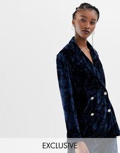 Бархатный пиджак-смокинг с винтажными пуговицами Reclaimed Vintage Inspired - Темно-синий