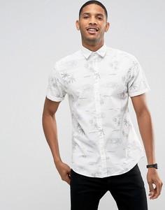 Рубашка с короткими рукавами и пляжным принтом Jack & Jones Originals - Белый