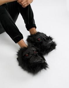 Слиперы с дизайном гориллы из искусственной кожи Loungeable - Черный