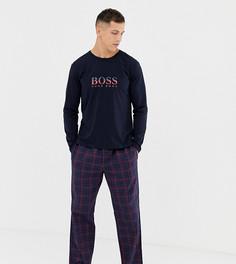 Подарочный набор с фланелевой пижамой BOSS - Темно-синий