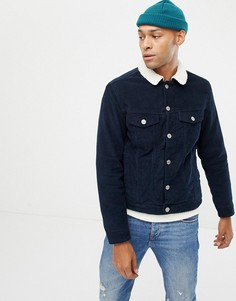 Вельветовая куртка с плюшевым воротником Jack & Jones - Темно-синий