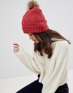 Вязаная шапка-бини с помпоном из искусственного меха Boardmans - Красный