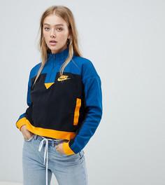 Сине-оранжевый флисовый свитшот с короткой молнией Nike - Мульти
