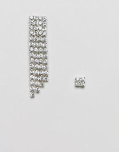 Броские серьги с кристаллами ASOS DESIGN - Серебряный