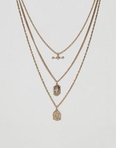 Золотистое ожерелье в винтажном стиле с подвесками ASOS DESIGN - Золотой