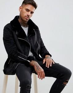 Черная куртка-авиатор с подкладкой из искусственного меха boohooMAN - Черный