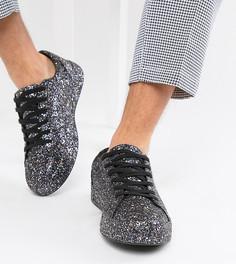 Черные кроссовки с блестками для широкой стопы ASOS DESIGN - Черный