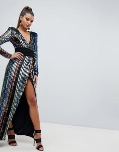 Платье макси с запахом и пайетками Club L - Мульти