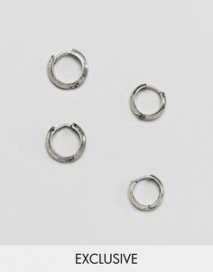 Серебристые серьги-кольца Reclaimed Vintage Inspired 16 мм, 14 мм - Серебряный