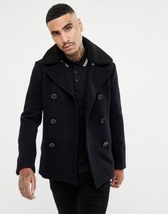 Темно-синее пальто с добавлением шерсти и съемным искусственным мехом Schott Cyclone 4 Reefer - Темно-синий