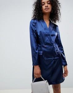 Атласное платье-смокинг Unique 21 - Темно-синий Unique21