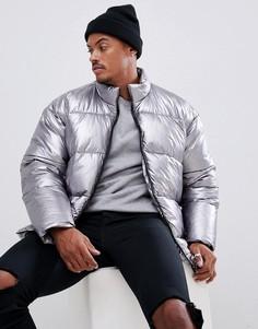 Серебристая свободная дутая куртка металлик ASOS DESIGN - Серебряный