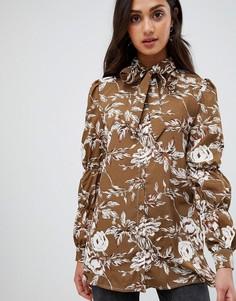 Блузка с цветочным принтом и бантом-завязкой Parisian - Зеленый