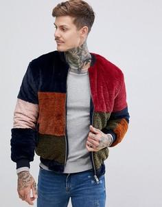 Куртка в стиле колор блок из искусственного меха boohooMAN - Мульти