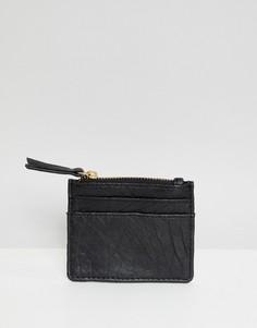 Кожаный кошелек для монет с отделением для карт Urbancode - Черный