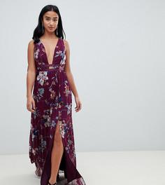 Платье макси с плиссировкой, отделкой лентой и цветочным принтом ASOS DESIGN Petite - Мульти