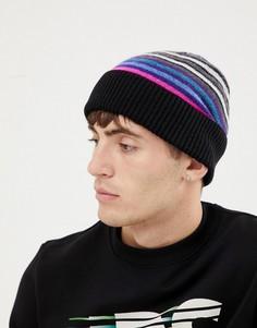 Черная шерстяная шапка-бини в полоску PS Paul Smith - Черный