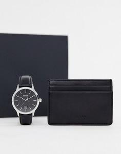 Часы и визитница BOSS - Черный