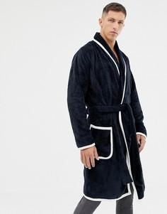 Темно-синий пушистый халат с серовато-бежевой окантовкой ASOS DESIGN - Темно-синий
