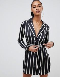 Атласное платье-смокинг в монохромную полоску Boohoo - Черный