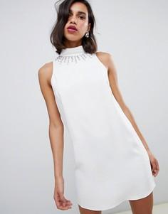 Свободное платье цвета слоновой кости с отделкой у ворота River Island s - Белый