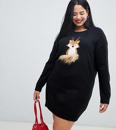 Новогоднее платье-джемпер Brave Soul Plus foxie - Черный
