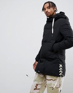 Черная дутая куртка с отделкой Sixth June - Черный