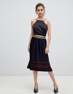 Плиссированная юбка металлик b.Young - Темно-синий