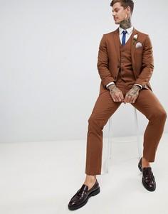 Мягкие зауженные брюки Harry Brown Wedding - Коричневый