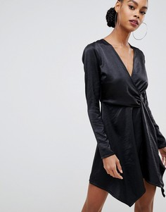 Черное атласное платье миди с запахом Boohoo - Синий