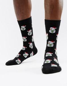 Новогодние носки со снеговиком Brave Soul - Черный