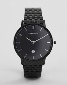 Часы с черным циферблатом и ремешком Sekonda 1386 - Серебряный