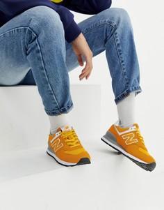 Желтые замшевые кроссовки New Balance 574 - Желтый