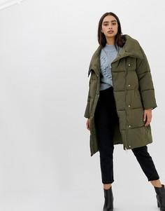 Длинная дутая куртка цвета хаки Miss Selfridge - Зеленый