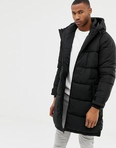 Удлиненная черная дутая куртка Bershka - Черный